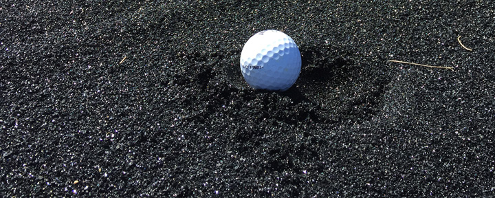 The sand traps at the Coal Creek Golf Resort near Ryley, Alberta, are filled with a black copper slag.