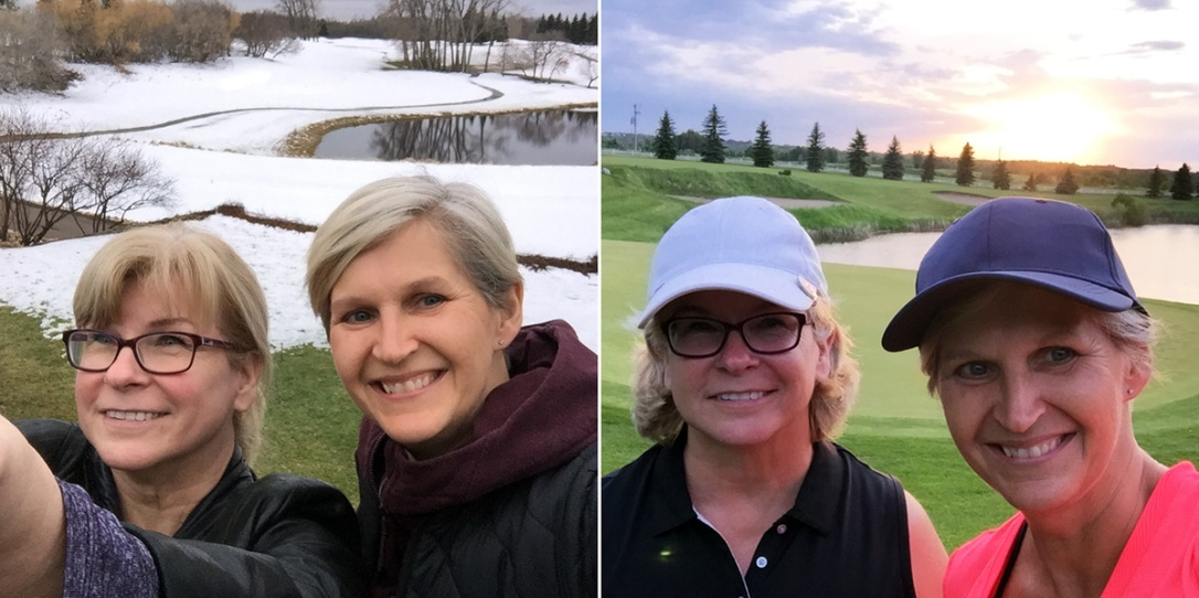 Lyn and I at the April Golfaround orientation and in June after a round at Legends.