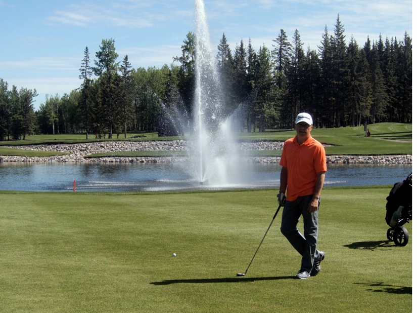 The opening holes at Sundre Golf Club are graced with fountains in the pond.