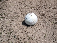 Coarse, gravelly sand greets you in the bunkers at Sundre Golf Club.