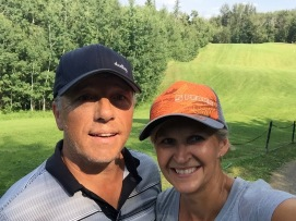 Obligatory selfie at the tee box of number 8, a 149-yard, par 3 with — of course — an elevated green.