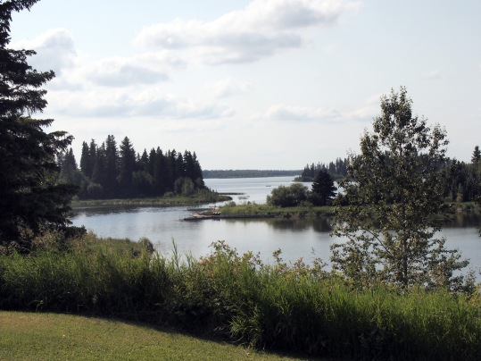 This view and a cold beer: Astotin Lake, as seen from the clubhouse of Elk Island Golf Course.