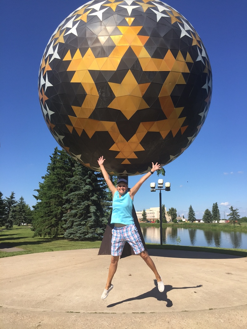 How excited was Therese to finally see Vegreville's giant egg? Yeah. This excited.