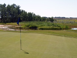 """One of several """"waste bunkers"""" on the Whitetail Crossing golf course, this one — with standing water and grass - flanks the first green."""