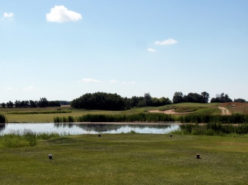 A view from the tee box at number 17 at Whitetail Crossing Golf Club in Mundare. Golfers are up against water, sand, elevation and more on this par 5 hole.