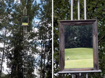 A mirror mounted on a tall stand shows whether golfers in the preceding group are still in range.