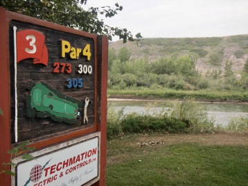The Red Deer River forms one of the boundaries of the Dinosaur Trail golf course in Drumheller.