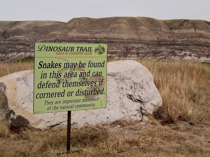 Snake warning at Dinosaur Trail golf course.