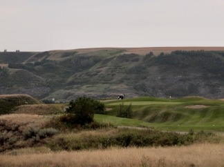 Variety of terrain on the badlands back nine of the Dinosaur Trail Golf Course in Drumheller