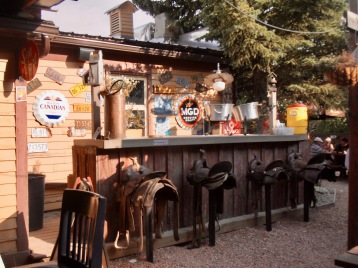 When the bar is busy, it looks like you can saddle up and order a beer on the patio of the Last Chance Saloon in Wayne, Alberta.
